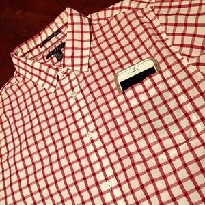 Forever 21 Men Tablecloth Plaid Pocket Button Up